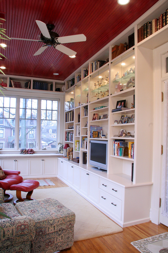 Cozy porch cabinetry